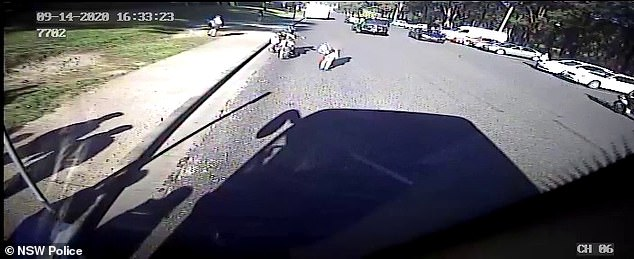 The motorcyclist attempted to veer off the footpath and on to the street (pictured above)