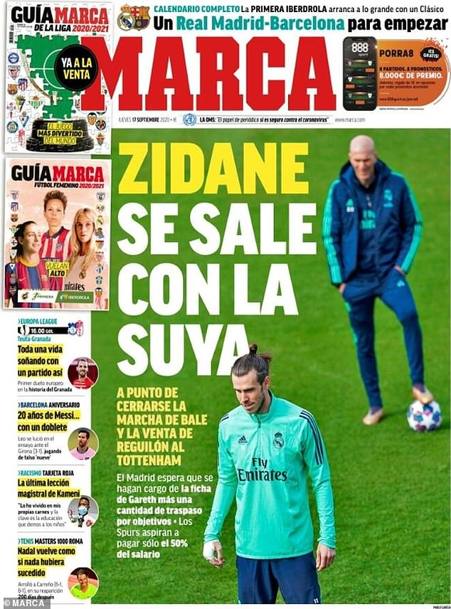'Zidane: He gets his way' was the headline on Marca as his £13m loan to Tottenham was agreed