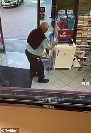 The pensioner walks over to the slushy machine