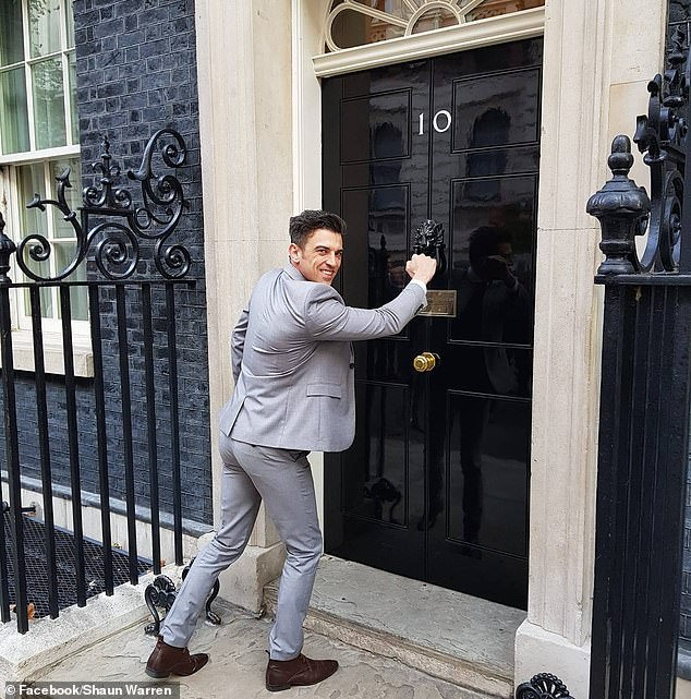 Today, Mr Warren (pictured in Downing Street before the attack) said he didn't understand why the motiveless assault was dealt with in a military court. Balenaka could have faced up to five years in prison if he had been tried in a criminal court