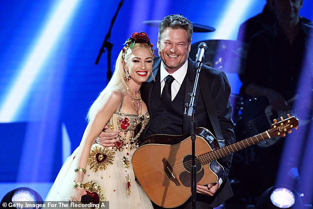 Cute couple: Gwen has been dating Blake since November 2015 - three months after his marriage to Miranda Lambert came to an end