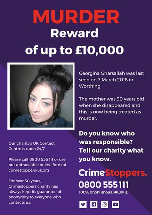 Ms Gharsallah was reported missing to Sussex Police on 17 March and has not accessed her phone, social media accounts or withdrew any cash from her bank account since she vanished. The investigation last year became a murder probe