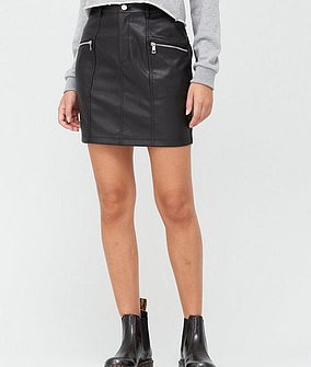V by Very Faux Leather Zip Mini Skirt (£25)