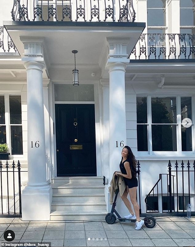 American-Chinese architect Dara Huang, 38, who shares four-year-old son Wolfie with her property developer ex-fiance Edo, 37, shared a snap of her outside a glamorous Banda property in Notting Hill on Instagram on Tuesday