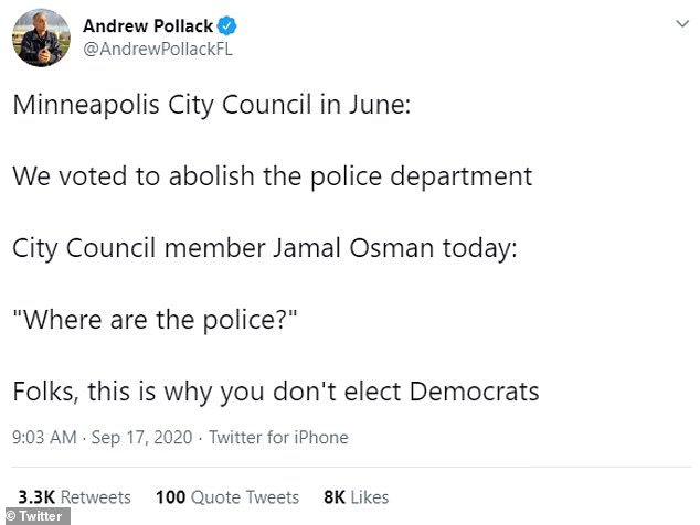 Andrew Pollack, who lost his daughter in the 2018 Parkland school shooting, tweeted: 'Folks, this is why you don't elect Democrats.'