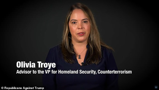 Olivia Troye, a former aide to Vice President Mike Pence, said in a video put out by Republicans Voters Against Trump that the president said, 'Maybe this COVID thing is a good thing. I don´t like shaking hands with people. I don't have to shake hands with these disgusting people'