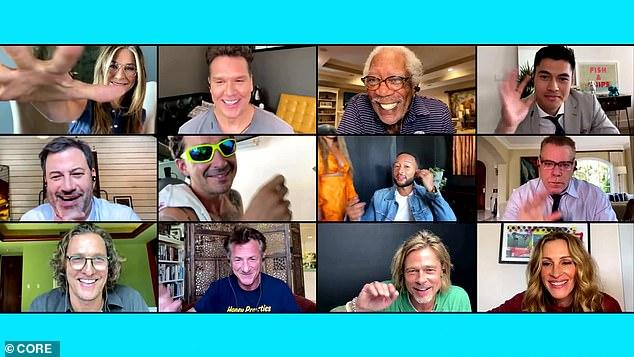 Hollywood stars: Jennifer, Brad, Dane Cook, Morgan Freeman, Henry Golding, Jimmy Kimmel,Shia LaBeouf, John Legend, Ray Liotta,Matthew McConaughey, Sean Penn and Julia all shared a screen together