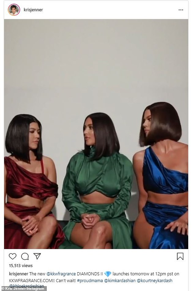 Coming soon:In a teaser video posted by Kris Jenner on Thursday, Kim, Khloe and Kourtney Kardashian described their upcoming Diamonds II Collection with KKW Fragrance that launches on Friday at noon