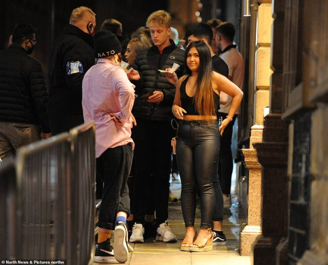 Those in Newcastle, where 40,000 university students are expected to return in the coming days, were photographed in close proximity outside busy clubs and bars despite the growing numbers of Covid-19 cases in the area