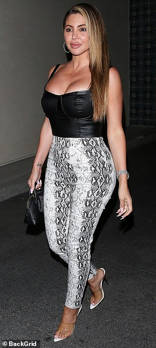 Hourglass: Larsa - who is the ex-wife of NBA star Scottie Pippen - opted for a pair of stylish perspex heels and added a touch of glamour with a leather mini bag