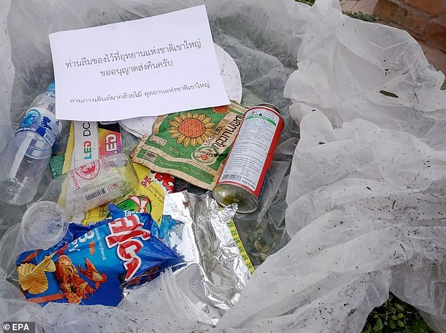 'Your trash - we will return it to you': Thailand's Environmental Minister Varawut Silpa-archa warned visitors to the popularKhao Yai National Park that if they drop litter, it will be packaged up and posted back to their homes.