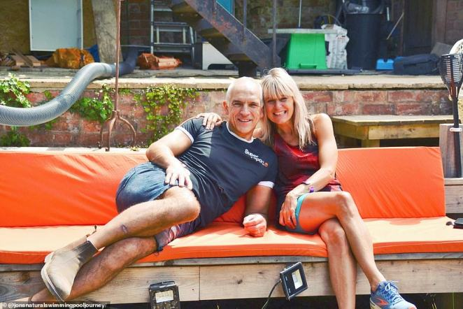 Caroline and Jon Edwards, aged 56 and 55, (above)built the chemical and chlorine-free pool, which measures 14 metres by 9 metres, and is 2.4 metres deep