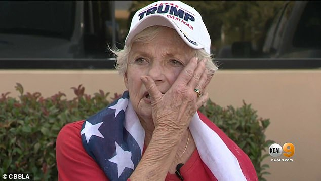 Donna Snow, 84 (pictured), was allegedly punched by a man as she attended a Trump rally in Aliso Viejo, California, on Wednesday night