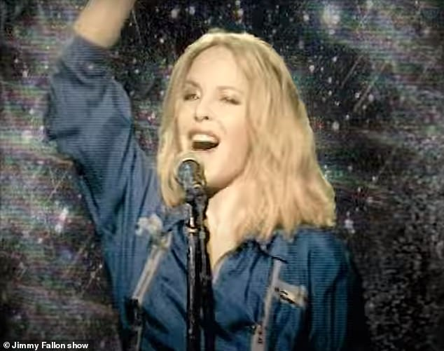 Vintage: The rendition featured an array of vintage special effects that made it appear as if Kylie was performing in the 1970s or '80s