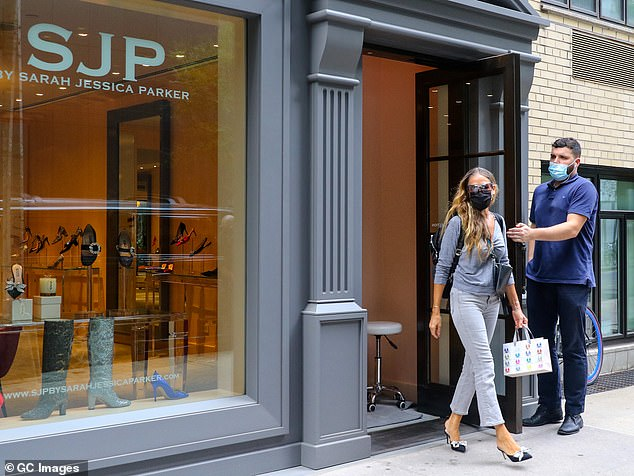 Parker runs her SJP by Sarah Jessica Parker Collection - a shoe and accessories business - from New York and is known to frequently greet customers in her flagship Manhattan store. She is pictured on August 25