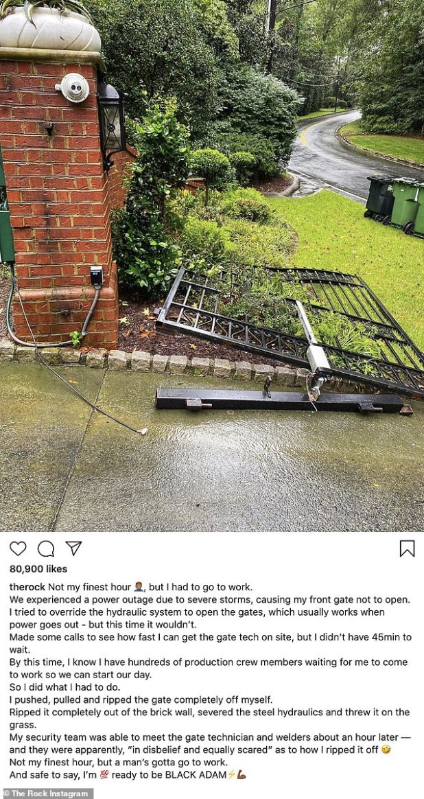 Unstoppable: Dwayne 'The Rock' Johnson effectively destroyed a lightning-powered gate 'completely' by himself, finding him unable to work due to a power outage