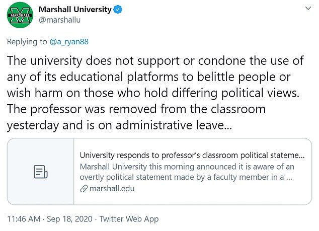Marshall University replied to Twitter comments and said it did not 'condone the use of any of its educational platforms to belittle people or wish harm...'