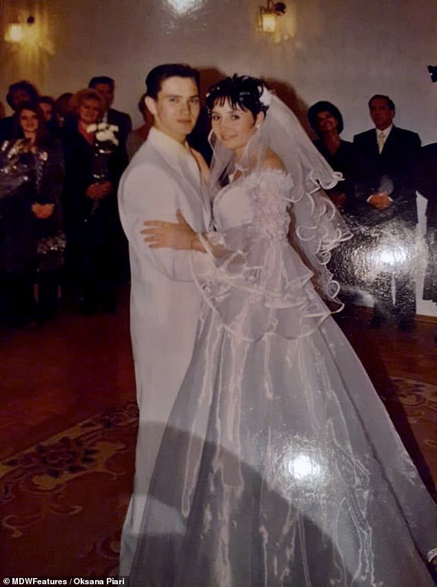 Memories: Oksana and Artem are pictured dancing on their wedding day