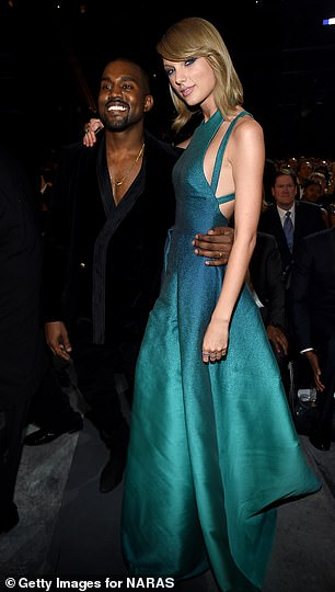 Kanye West said he would 'personally' ensure that the former nemesis and now friend Taylor Swift regains control after label manager Scooter Braun (right) acquired ownership of all of his music in the last year