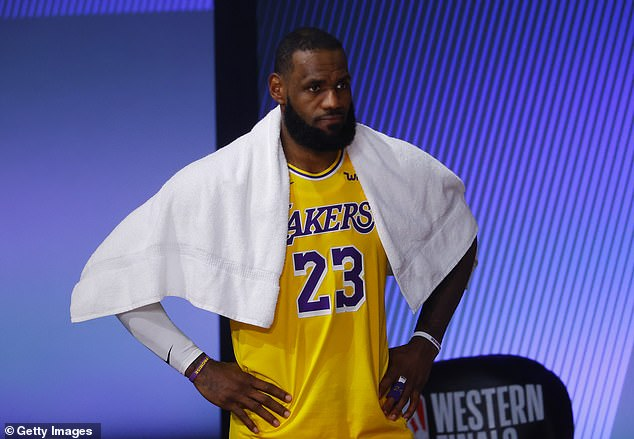 In response to the quoted headline which read 'Lori Loughlin will get to serve her two-month sentence at the prison of her choice', James wrote, 'Of her what!!???'; LeBron seen on Friday