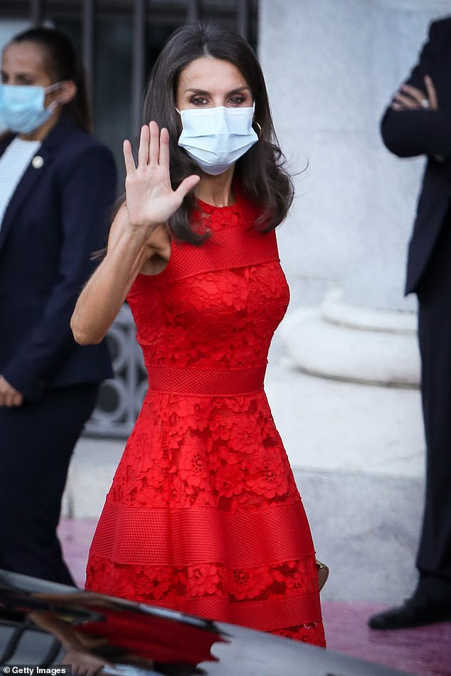 Queen Letizia of Spain stunned in a red dress yesterday as she joined her husband King Felipe at the Royal Theatre in Madrid