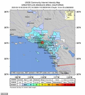 Southern California is rocked by a 4.5 magnitude earthquake – with tremors felt from Los Angeles to San Diego
