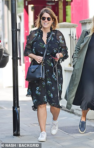 Sporting a black floral dress and white Stan Smith trainers, the daughter of Prince Andrew and Sarah Ferguson looked relaxed as she indulged in retail therapy close to her Kensington Palace home, where she lives with husband Jack Brooksbank