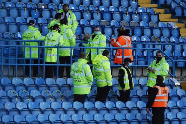 Stewards at the match were responsible for ensuring crowds followed social distancing rules and prevented the spread of Covid