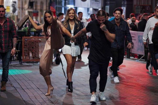 Party animals in Nottingham seemed to shake off concerns about the coronavirus and social distancing as they gathered for a night out on Saturday.