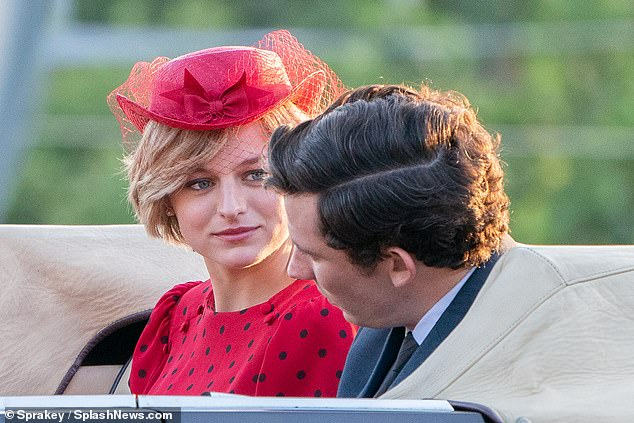 Emma - who stars in the show with co-star Josh O'Connor as Prince Charles (pictured together) - also cut her hair off her face, which was just styled for her new role by Sam McKnight.