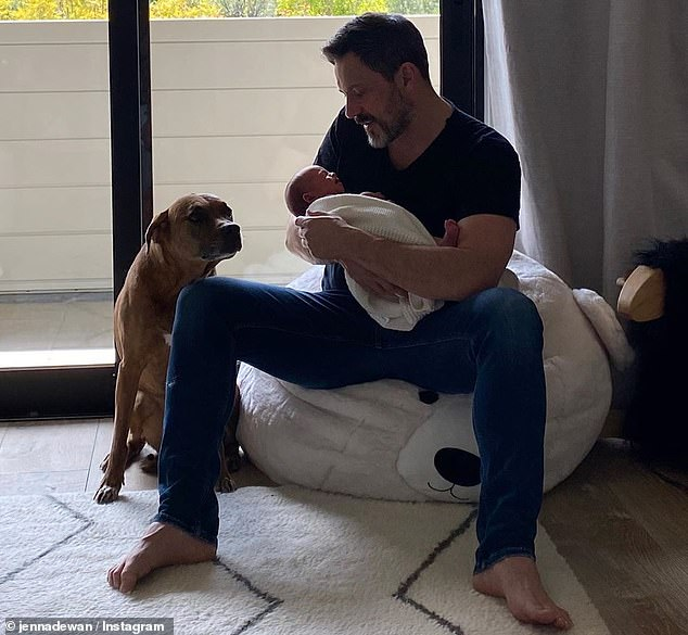 'Sexy fatherhood': In her sweet message to her partner, Jenna could not help but gush over the amazing job Steve has done as a first time father to their newborn son especially as a dad in quarantine