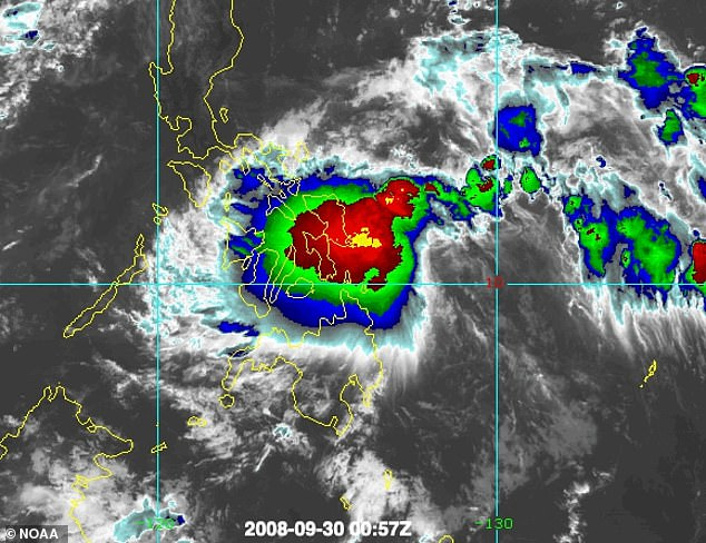 Tropical Storm Higos, pictured on the radar, smashed straight into the 40 foot boat