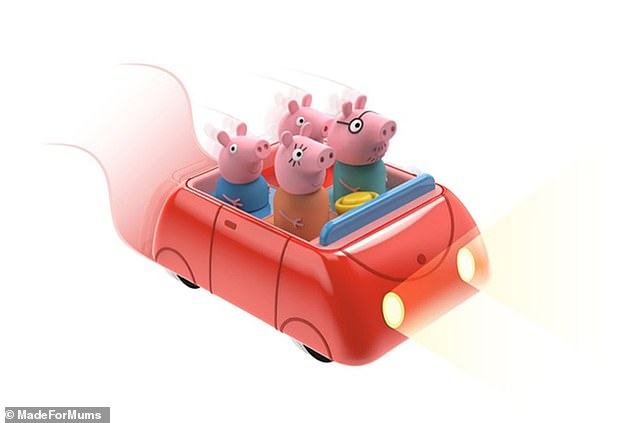 The Peppa Pig Clever Car has push-button activation, flashing lights, sounds and infra-red obstacle avoidance technology