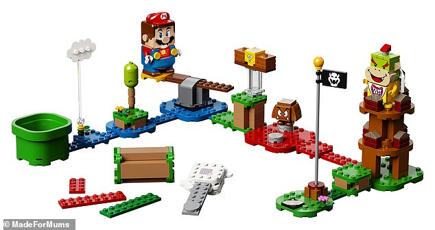 The LEGO 71360 Super Mario Adventures with Mario Starter Course includes a 231-piece game set, featuring action bricks and a Mario character that has colour sensors, as well as LCD screens