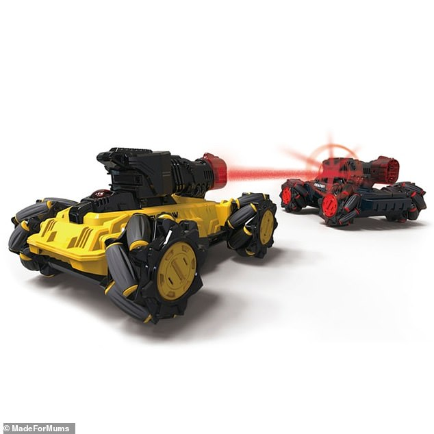The Laser Battle Hunters are two super-speedy 19cm-high remote-control 4-wheel-drive vehicles, Shadow and Reaper