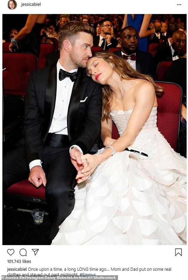Poking fun: In a more recent throwback, actress Jessica Biel shared a swoon-worthy picture of herself resting on her tuxedo-clad husband, Justin Timberlake