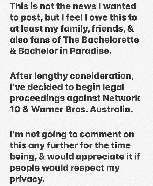 Bombshell announcement: The firefighter-turned-FIFO worker's initial Instagram statement, shared in July, explained why he had decided to call in his lawyers