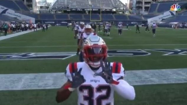 Devin McCourty ran up to a camera during Sunday night's game following the news and shouted 'two eight, we love you bro' - a reference to White's number on the field