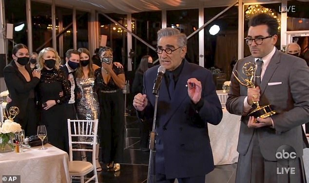 Top honor:The sitcom won the Emmy for Outstanding Comedy Series and creators and father-son duo Eugene, 73, and Dan Levy, 37, accepted the honor