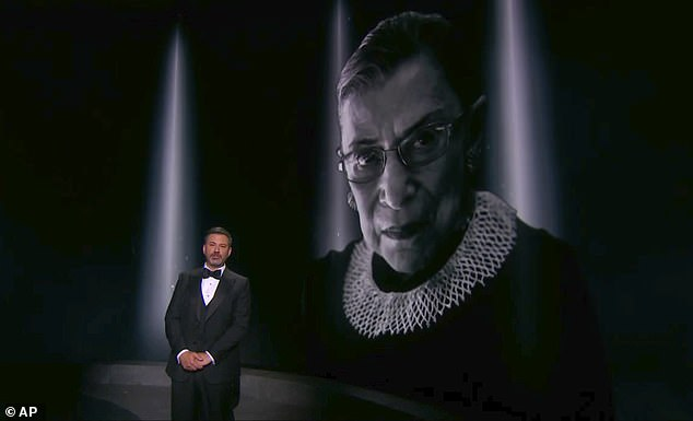 'We lost a great American': Emmys host Jimmy Kimmel paid tribute to Supreme Court Justice Ruth Bader Ginsburg who died Friday as he introduced the Emmys In Memoriam segment
