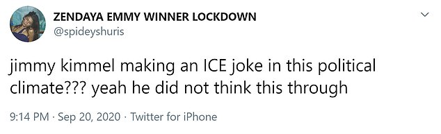 Twitter user: Jimmy kimme; making an ICE joke in this political climate???  yeah he did not think this through
