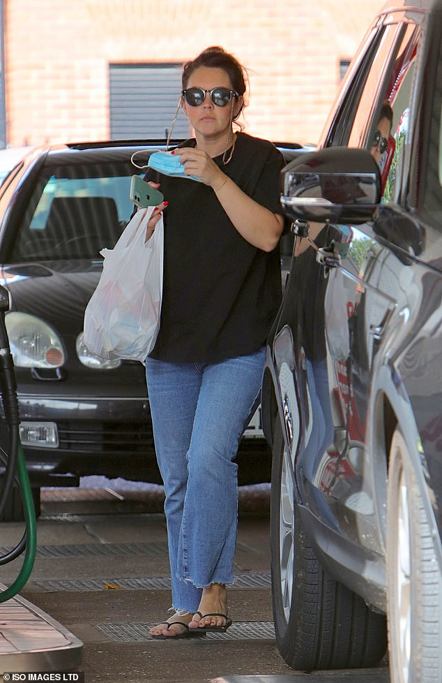 Expecting: Lacey was spotted running errands on Sunday, shortly after the news of her EastEnders break was announced