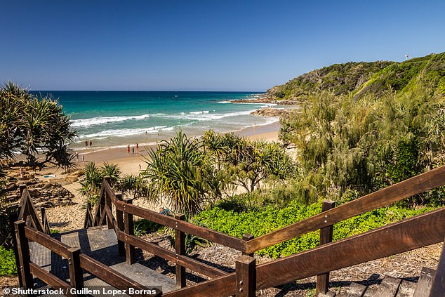 Surfers rushed the mother to the beach and performed CPR for about 30 minutes as they waited for paramedics to arrive but she was pronounced dead at the scene (pictured)