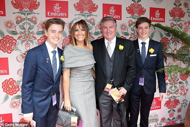 Eddie (second right) was enjoying a night out with son Joe (left). They're pictured with Eddie's wife Carla and other son Alexander at the 2016 Melbourne Cup