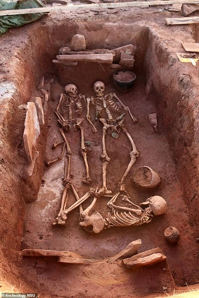 The pair are believed to have died in their 30s and were buried with a baby and an 'elderly' servant woman, archaeologists say. The elderly woman was likely in her 60s when she died