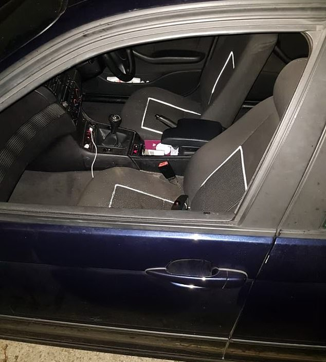Police have released a picture of the inside of the car which the woman fell out of during the incident in the early hours of this morning