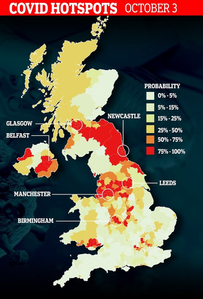 Covid-19 will continue spreading down the North East coast over the next fortnight, scientists fear.Imperial report the probability that a local authority will become a hotspot in a percentage - 100 per cent being almost certain. The map shows each area's probability by October 3