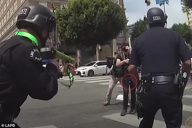 Bodycam footage taken at a Black Lives Matter protest in Los Angeles on June 20 showed the moment a police officer fired a foam bullet into an activist's groin