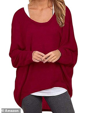 The jumper features a crew neck, long batwing arms that accentuate the roomy fit