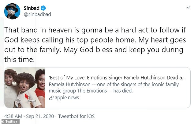 Actress Sheryl Lee Ralph and Sinbad the comedian remembered Pamela in Twitter tributes